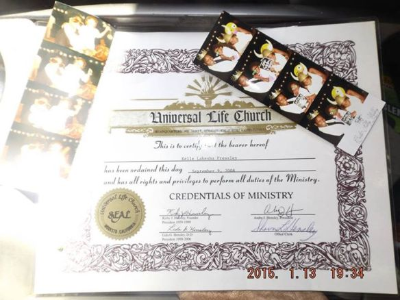 Universal Officiant and life celebrant Universal Life Church